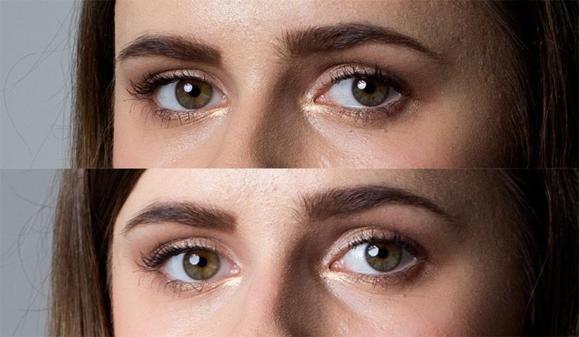 Odbicie softboxu w źrenicy oka