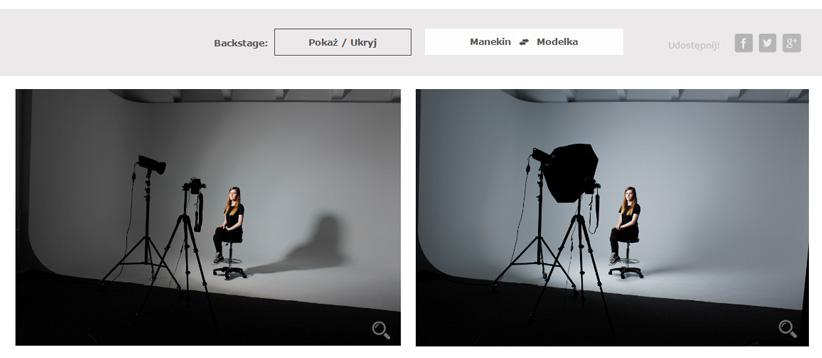 Porównaj akcesoria fotograficzne - widok backstage