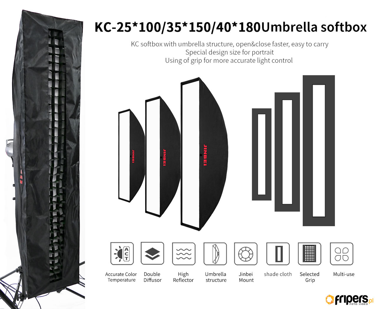Jinbei Softbox KC Strip z maską